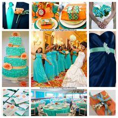 Cyan, Navy blue and orange wedding color scheme