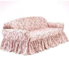 shabby chic slip covers ~ I want this on my sofa right now! Shabby Chic Wardrobe, Shabby Chic Vanity, Shabby Chic Sofa, Shabby Chic Fabric, Simply Shabby Chic, Shabby Chic Living Room, Shabby Chic Interiors, Shabby Chic Farmhouse, Shabby Chic Bedrooms