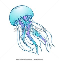 Find Jelly Fish Vector Illustration stock images in HD and millions of other royalty-free stock photos, illustrations and vectors in the Shutterstock collection. Dark Art Drawings, Unique Drawings, Fish Drawings, Amazing Drawings, Drawing Sketches, Jellyfish Drawing, Jellyfish Tattoo, Jellyfish Art, Underwater Animals