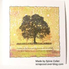 Carte arbre . fond réalisé avec la Gelli Plate et des peintures. tampons Crafty Individuals.