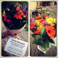"""Lonely bouquet"" of #flowers found on #Glastonbury Tor - beautiful idea to share happiness"