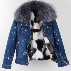 Winter Jeans Jacket Women Denim Short Jackets Raccoon Fur Collar Female Parka Real Fox Fur Lining Casual Coat Thick Warm Parkas Winter Coats Women, Winter Jackets, Fur Collar Jacket, Love Clothing, Parka Coat, Fox Fur, Short Jackets, Clothes Women, Scrappy Quilts