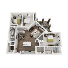 C1 floor plan Apartment Floor Plans, Bedroom Floor Plans, House Floor Plans, House Plans And More, Small House Plans, Home Staging Cost, Dorm Design, College House, 3d Home