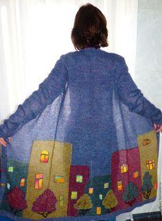 """Купить Мохеровое пальто """"ВЕЧЕР В ГОРОДЕ"""" - комбинированный, рисунок, Анна Лесникова, дизайнерская одежда"""