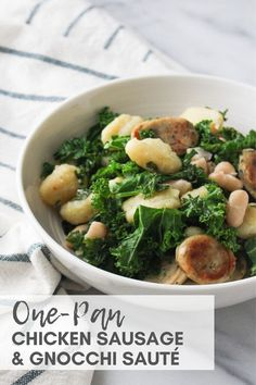 Utilize the ingredients in each kitchen zone to create a put-together meal. This recipe uses all four kitchen zones with basic ingredients to create a delicious and balanced meal in minutes. One Pan Chicken, Chicken Sausage, How To Cook Chicken, Skillet Chicken, Chicken Gnocchi, Recipe Chicken, How To Cook Gnocchi, Sauteed Kale, Easy Weeknight Dinners
