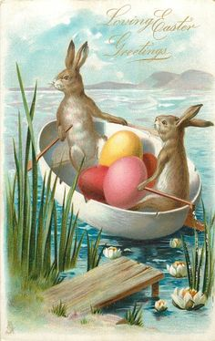two rabbits in a boat with colored eggs