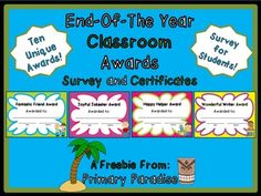 These adorable and fun student awards are perfect for the end of the year. They are a great way to celebrate student accomplishments together! This FREEBIE includes 10 create awards and a survey for your students to take to vote on who they think deserves this award.As always, my goal is to make teaching a breeze!