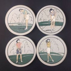 Hindostone Stone Ladies Golf Theme Coasters Set 4 Lady Golfers Golfing Women