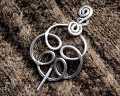 Celtic Knot Swirling Flower Aluminum Shawl Pin, Scarf Pin, Sweater Brooch, Fastener, Closure - Women Accessories, Knitting Accessory