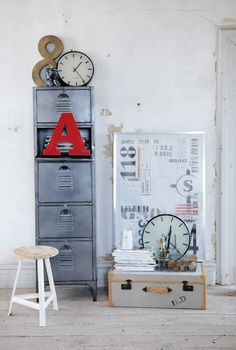 lockers, letters, clocks oh my. urban remains chicago has everything you need to add a little industrial edge to your design
