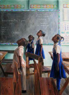 National Anthem, 2012 by Jonathan Gladding (Caribbean Artist) Black Girl Art, Black Women Art, Black Panthers, African American Art, American Artists, American History, Caricatures, Jamaican Art, Black Art Pictures