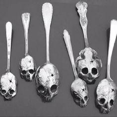 Skull Spoons #silverware #skeleton