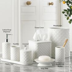 Made of fine porcelain, the Scala Bath Accessories add a crisp and clean touch to your bathroom decor. Each ivory bath accessory features an overlapping pattern for a modern, coastal interpretation reminiscent of mermaid scales. Bathroom Niche, Bathroom Rules, Bathroom Shelves, Dyi Bathroom, Bathroom Vanities, Toilet Rules, Ideas Dormitorios, Timeless Bathroom, Luxury Duvet Covers