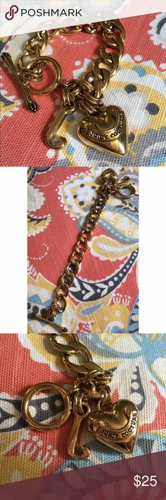 Juicy Couture Bracelet Gold Banner Heart Starter Bracelet is the perfect start to your Juicy charm bracelet! Lightly worn, no box included. Will take best offer. 💖 Juicy Couture Jewelry Bracelets