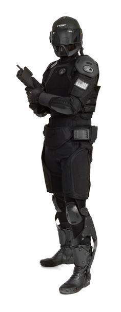 Nanotechnology Combat Armour 2, future soldier, future warrior, post-apocalyptic, helmet,  future cop, future police, black clothing, weapon, gun, exoskeleton, military