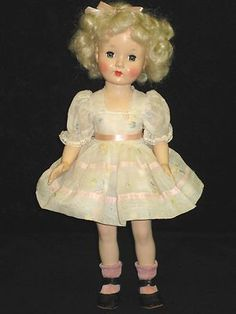 Vintage Effanbee Honey Doll Platinum Mohair Wig - Hard Plastic Original Dress 16""