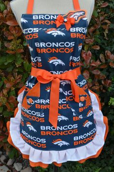 Go Broncos Double Ruffled Womans Apron by OliviabyDesign on Etsy, $26.95...but with bsu