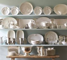 Swoon! Open shelving with white dishes - Holman Ledge   Pottery Barn