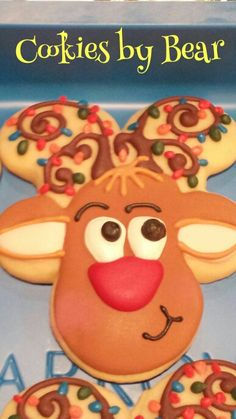 Decorated Sugar Cookie.  Christmas Reindeer cookie