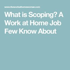 What is Scoping? A Work at Home Job Few Know About