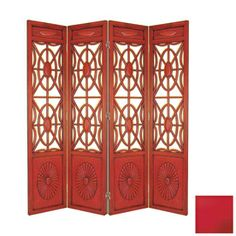 "Oriental Furniture�4-Panel Red Folding Indoor Privacy Screen 78""Height $658"