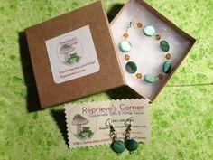 Mint Green-- Handmade Pale Green Shell Bead Bracelet and Earring Set on Etsy, $14.99