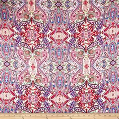 Rayon+Challis+Paisleys+Pink from @fabricdotcom  This+very+lightweight+rayon+fabric+is+semi-sheer+and+has+a+beautiful+fluid+drape+and+soft+hand.+It+is+perfect+for+creating+shirts,+blouses,+gathered+skirts+and+flowing+dresses+with+a+lining.+Colors+include+fuchsia,+red,+blue,+tan,+green,+and+cream.