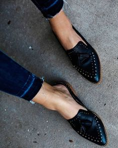 Montana Studded Tassel Loafer Mule is part of Shoes - Western style with an edge! This statement black loafer features a tassel and studs on top Man Made Leather Upper Metal studs Genuine leather insole Shaft Height 0 75 Heel Height 1 Studded Loafers, Black Loafers, Tassel Loafers, Loafers Men, Oxfords, Black Flats, Black Mules, Loafers For Women, Loafers Outfit