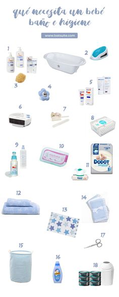 Lista que necesita un bebe recien nacido. Baño e Higiene.