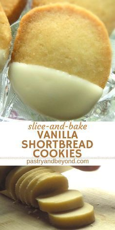 Easy Slice-and-Bake Vanilla Shortbread Cookies-You can easily make these delicious vanilla shortbread cookie recipe with few ingredients for the holiday season! You'll love these simple white chocolate dipped cookies. Easy Cookie Recipes, Cookie Desserts, Easy Desserts, Sweet Recipes, Delicious Desserts, Dessert Recipes, Yummy Food, Healthy Food, Delicious Chocolate