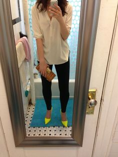 Neon heels, leggings, silk blouse, clutch, going out outfit
