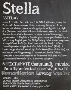 STELLA Personalized Name Print Typography By OhBabyNames 2000
