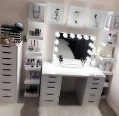 Schminkzimmer – Hair and beauty - Baby Room Cute Bedroom Ideas, Cute Room Decor, Trendy Bedroom, Sala Glam, Vanity Room, Ikea Vanity, Vanity Decor, Diy Vanity, Glam Room