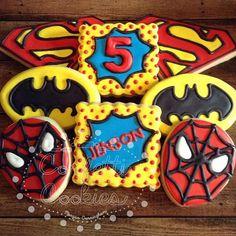 """These are so much fun for a Superhero Birthday Bash! #confetticookies #decoratedcookies #spiderman #superman #batman #birthdayboy"" Photo taken by @confetticookies on Instagram, pinned via the InstaPin iOS App! http://www.instapinapp.com (07/13/2015)"