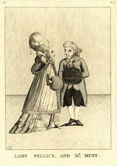 Lady Pellice, and Mr. Muff. A man and woman in conversation, both with hands in a muff, the lady in a fur-lined and boarded pelise 20/1/1778 Etching p. Matthew Darly BM J,5.135