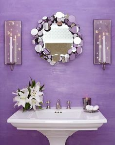 Light purple bathroom, circular mirror with shiny frame - like the brushed look of the purple. Round mirror would work in the small space. Decor, Purple Home, Purple Decor, Color, Home Decor, Purple Bathrooms, Lavender Cottage, Purple Love, All Things Purple