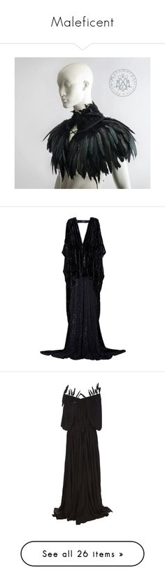 """""""Maleficent"""" by whiterabbitmadness ❤ liked on Polyvore featuring dresses, gowns, long dresses, 7 for all mankind, long dress, women, feather trim dress, puff dress, puffy dresses and long feather dress"""