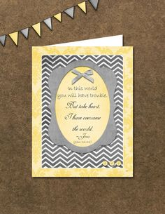 John 16:33, inspirational Scriptural encouragement card. Etsy - A Higher Calling