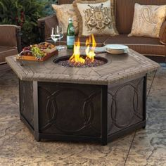 Warm your outdoor conversation area with flickering firelight from our Provenca Custom Gas Fire Table. Customize this 55 hexagonal gas firepit by         selecting a cast-aluminum base with either the         Tuscan (circle) or Cascina (medallion) design.         Porcelain tile top in a beautiful Italian-inspired design                  Durable and weather-resistant cast aluminum base                             Bronze powdercoated finish on base offers extra protection from the elem...