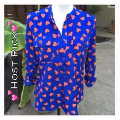 Heart Tunic shirt by GAP  Host Pick Cute and cheery orange heart & blue shirt from GAP. Small fraying on right side of cuff. GAP Tops Tunics