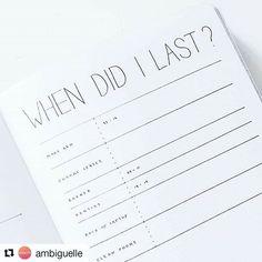 "A super clean & simple ""When did I last"" page by @ambiguelle . . . #mininalistbujo #bulletjournal #bulletjournalcollection #bulletjournalinspire #wearebujo #bujolove #bulletjournaling #bulletjournalcommunity #bujo #bujoaddict #notebook #productivity"