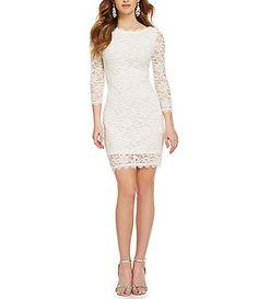 3122887ffab Jump Eyelash Lace Illusion 3 4-Sleeve Sheath Dress White Cocktail Dress
