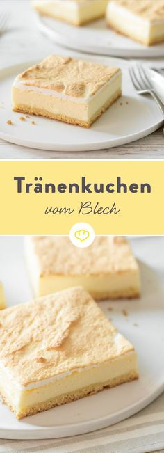 Käsekuchen mit Baiser aka Tränenkuchen vom Blech Today there is a very special cheesecake - a cheesecake with meringue. A tear cake, a gold droplet cake or just the best that your baking sheet has to Baking Recipes, Cake Recipes, Dessert Recipes, Shortcrust Pastry, Food Cakes, Sweet Cakes, Tray Bakes, Queso, Yummy Cakes