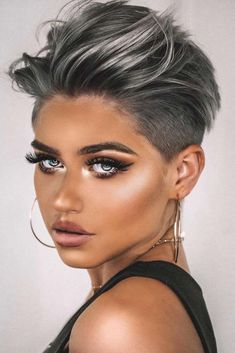 Women short hair 342836590385253530 - Trendy haircut short hair undercut trending hairstyles 50 Ideas Source by fjourget Short Hair Undercut, Short Hairstyles For Thick Hair, Short Pixie Haircuts, Short Hair Cuts For Women, Curly Hair Styles, Haircut Short, Funky Short Hair, Pixie Haircut Color, Pixie Cut With Undercut