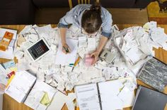 Woman organizing clutter