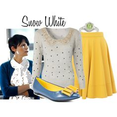 """""""Mary Margaret Blanchard"""" by me (urbansouthuna) on Polyvore - inspired by the tv series """"Once Upon A Time""""  I'd wear this with different flats. I'd also wear the skirt with blouses & the sweater with trousers or skinny jeans."""