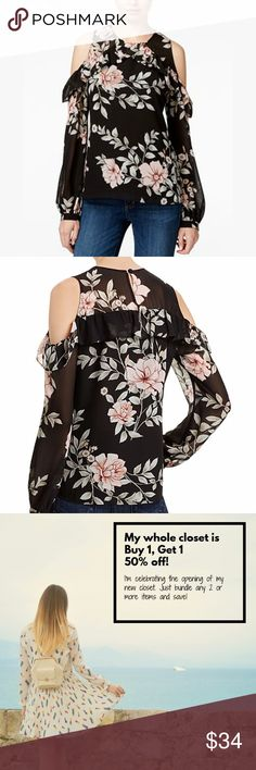 GUESS Cold Shoulder Floral Blouse / Top 'Alder' BRAND NEW Flouncy ruffles, flirty cutouts and fresh florals deliver three times the trendsetting style on this fashion-savvy blouse from GUESS. Fits true to size, order your normal size Round neck, cold-shoulder cutouts, long sleeves Ruffle trim, back keyhole with button closure Allover floral print, lined Self/lining: polyester Hand wash  Sorry, no trades!  Please give us a follow and check out the rest of our closet for more deals on designer…