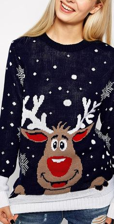 A Reindeer Sweater had to be somewhere!me/… A Reindeer Sweater had to be somewhere! Christmas Jumpers, Ugly Christmas Sweater, National Christmas Jumper Day, Love Holidays, Winter Holidays, Holiday Fashion, Holiday Style, Reindeer Sweater, Ugly Sweater Party