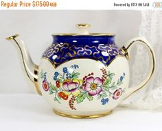 SALE Sadler Teapot, 1950s Floral Porcelain Tea Pot - England - 12555