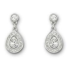 Swarovski Sensation Small Boucles d'Oreilles -Cette paire délicate de boucles d'oreilles plaquées rhodium ajoute une élégance classique à toutes les tenues. Chacune arbore un cristal clair en forme de poire